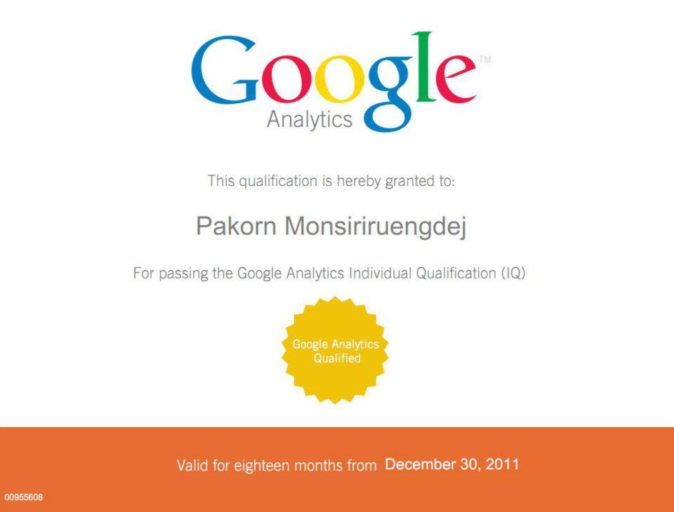 ใบประกาศนียบัตรการสอบผ่านตัวเก็บสถิติ Google Analytics หลักสูตรมืออาชีพ